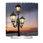 Lampost Sunset In Venice Shower Curtain by Catie Canetti