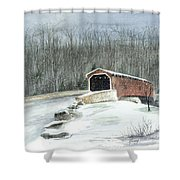 Lancaster County Covered Bridge In The Snow  Shower Curtain