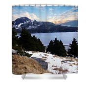 Land With A View Painterly Shower Curtain