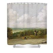 Landscape - Ploughing Scene In Suffolk Shower Curtain