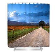 Lane Across Valley Shower Curtain
