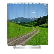 Lane View Of Crazy Mountains Shower Curtain