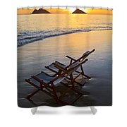 Lanikai Chairs At Sunrise Shower Curtain