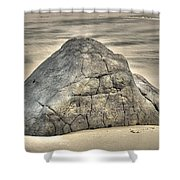 Large Rock On The Beach Shower Curtain