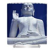 Large Seated White Buddha Shower Curtain