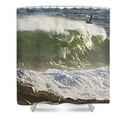 Large Waves And Seagulls Near Pemaquid Point On Maine Shower Curtain