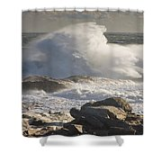 Large Waves Near Pemaquid Point On The Coast Of Maine Shower Curtain