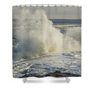 Large Waves On Rocky The Coast Maine Shower Curtain