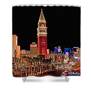 Las Vegas Canvas Panorama Shower Curtain