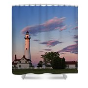 Last Light Of Day At Wind Point Lighthouse - D001125 Shower Curtain