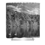 Late Afternoon At The Lake - Bw Shower Curtain