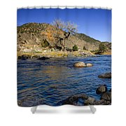 Late Autumn At The Arkansas Shower Curtain by Ellen Heaverlo