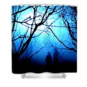 Late Full Moon Walk In The Wild Forest Shower Curtain