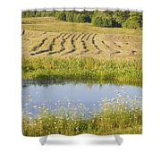 Late Summer Hay Being Harvested In Maine Canvas Poster Print Shower Curtain