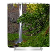 Latourell Falls Oregon - Posterized Shower Curtain