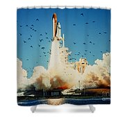 Launch Of Space Shuttle Challenger 51-l Shower Curtain