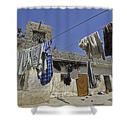 Laundry Hangs In The Courtyard Shower Curtain by Stocktrek Images