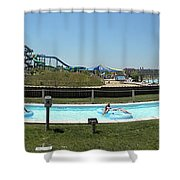 Lazy River Panorama At A Water Park Shower Curtain