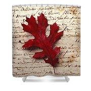 Leaf On Letter Shower Curtain