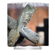 Leaning Cross At Cemetery Shower Curtain