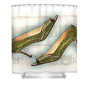 Leapin Green Lizards Pumps Shower Curtain