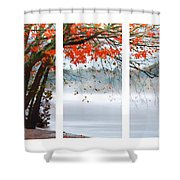 Leaves Of Red Shower Curtain by Darren Fisher