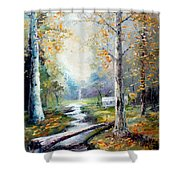 Leaving The Woodland Creek  Shower Curtain