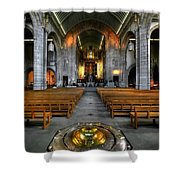 Leeds Cathedral Baptismal Font And Nave Shower Curtain