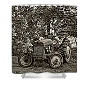 Left Fielder Sepia Shower Curtain