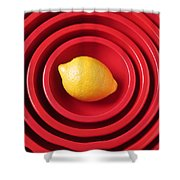 Lemon In Red Bowls Shower Curtain