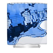 Abstract Guitar In Blue 2 Shower Curtain