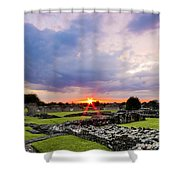 Lesnes Abbey Ruins Sunset Shower Curtain