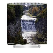 Letchworth State Park Middle Falls With Watercolor Effect Shower Curtain