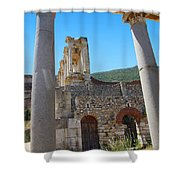 Library Of Celsus And Columns Shower Curtain