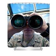 Lieutenant Uses Binoculars To Scan Shower Curtain by Stocktrek Images