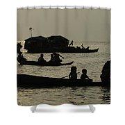 Life On Lake Tonel Sap Shower Curtain