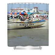 Lifeguard Boat At Ocean City Boardwalk New Jersey Shower Curtain