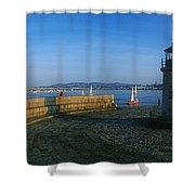 Light House At A Harbor, County Dublin Shower Curtain