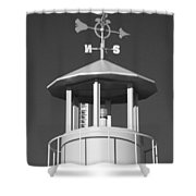 Light House On Coney Island In Black And White  Shower Curtain