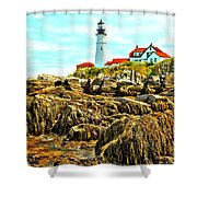 Light Over The Rocks Shower Curtain