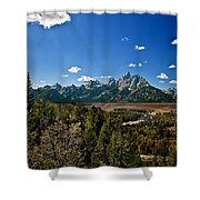 Light Rays On The Grand Tetons Shower Curtain