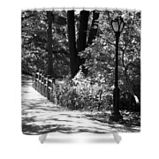 Lighted Bridge In Black And White Shower Curtain
