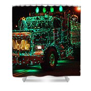 Lighted Green Dumptruck Shower Curtain
