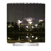 Lighted Supertrees Of The Gardens By The Bay In Singapore Shower Curtain