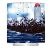 Lighthouse Blues Painterly Style Shower Curtain