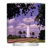 Lighthouse In Biloxi Mississippi Shower Curtain