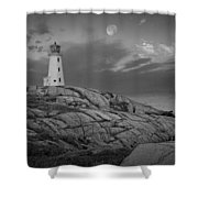 Lighthouse In The Moonlight At Peggy's Cove Nova Scotia Canada Shower Curtain