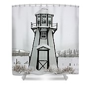 Lighthouse In The Snow Shower Curtain