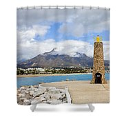 Lighthouse On Costa Del Sol In Spain Shower Curtain