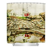 Lighthouse Reflections Shower Curtain by Darren Fisher